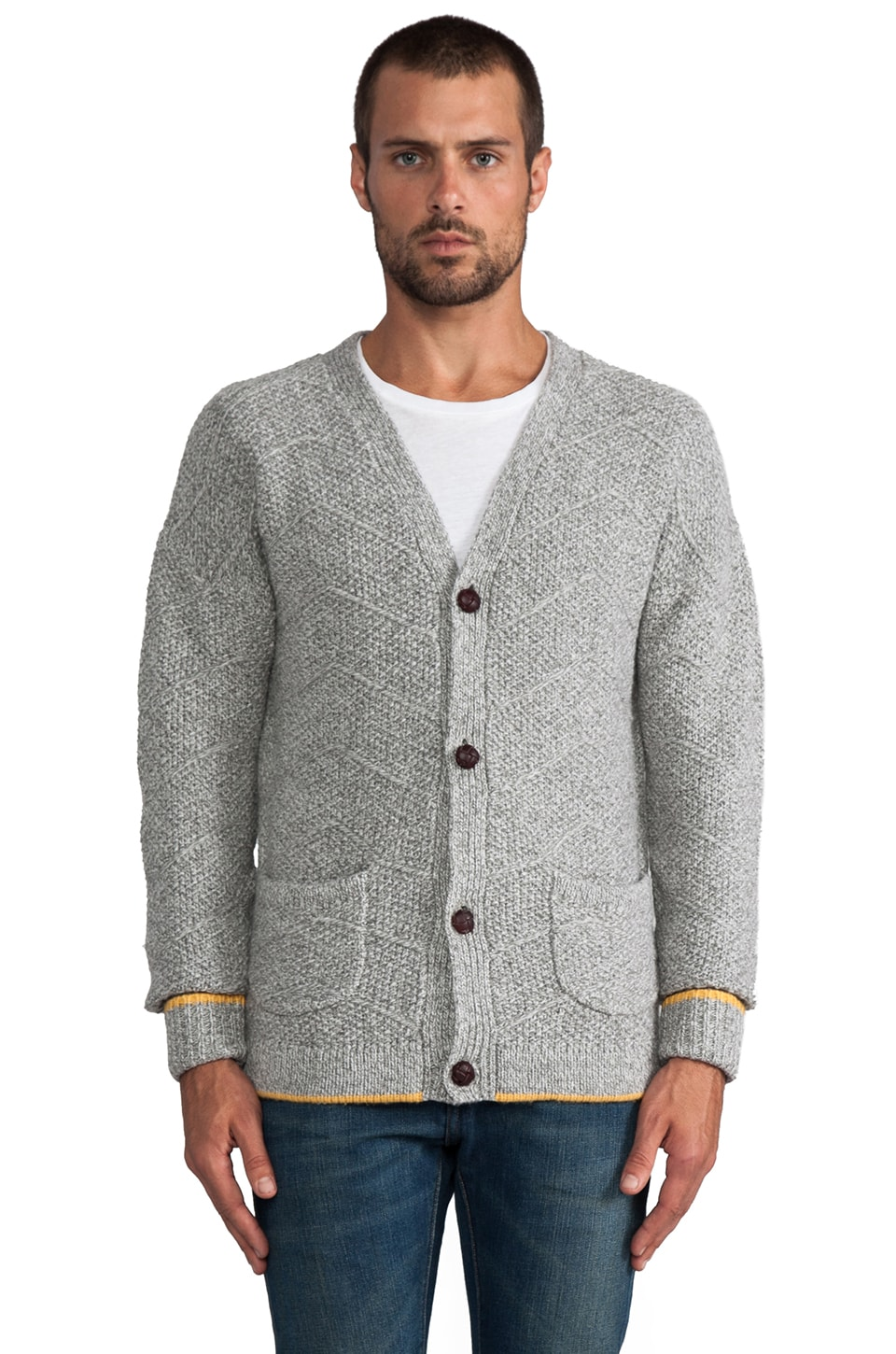 LEVI'S: Made & Crafted Wool Cardigan in Grey Melee