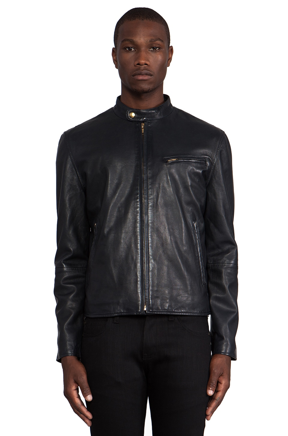 LEVI'S: Made & Crafted Leather Biker Jacket in Blue/ Black
