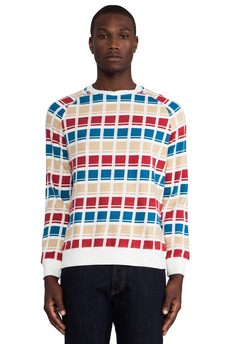 LEVI'S: Made & Crafted Pullover in White Multicheck