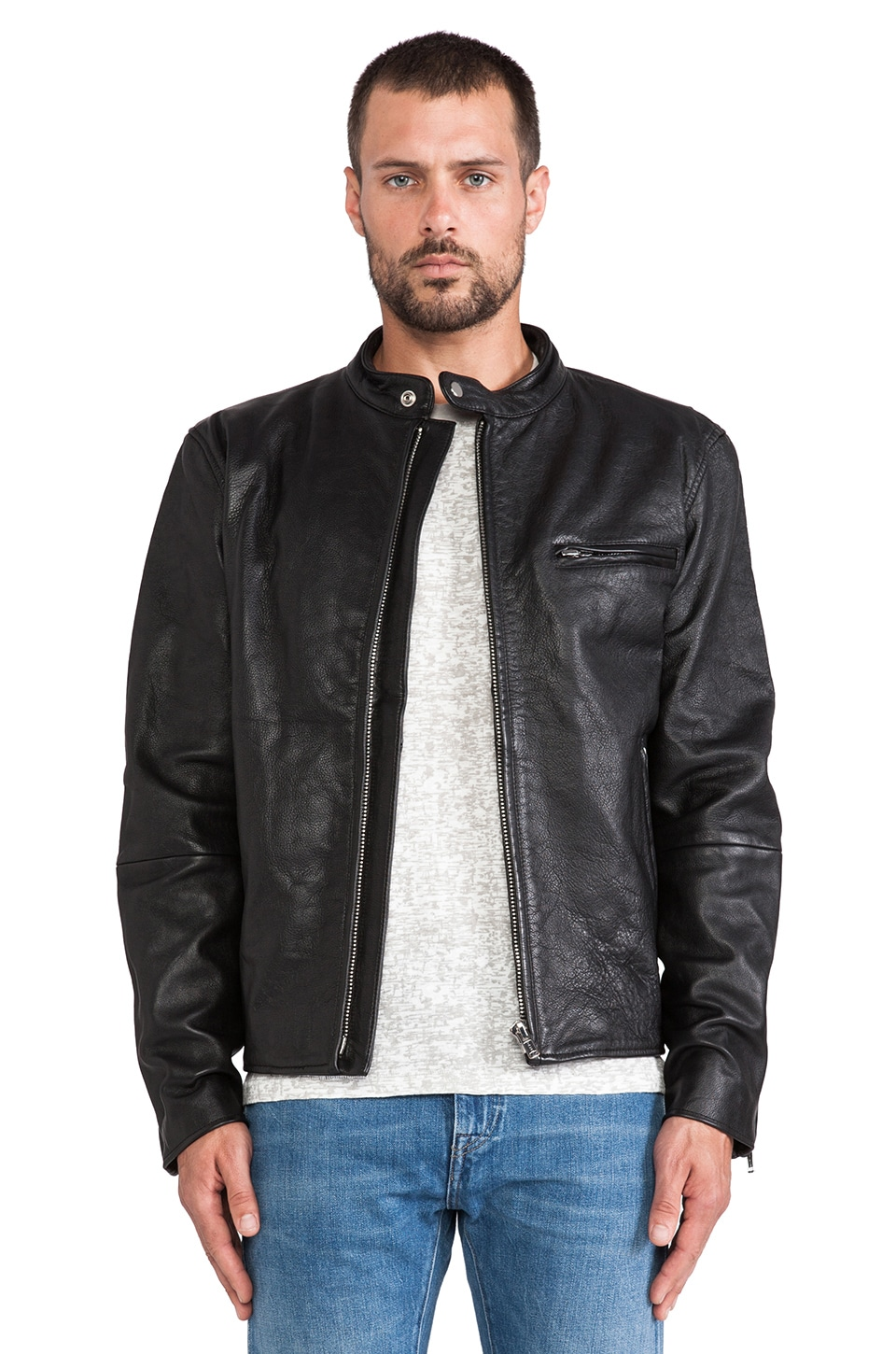 LEVI'S: Made & Crafted Leather Biker Jacket in Black