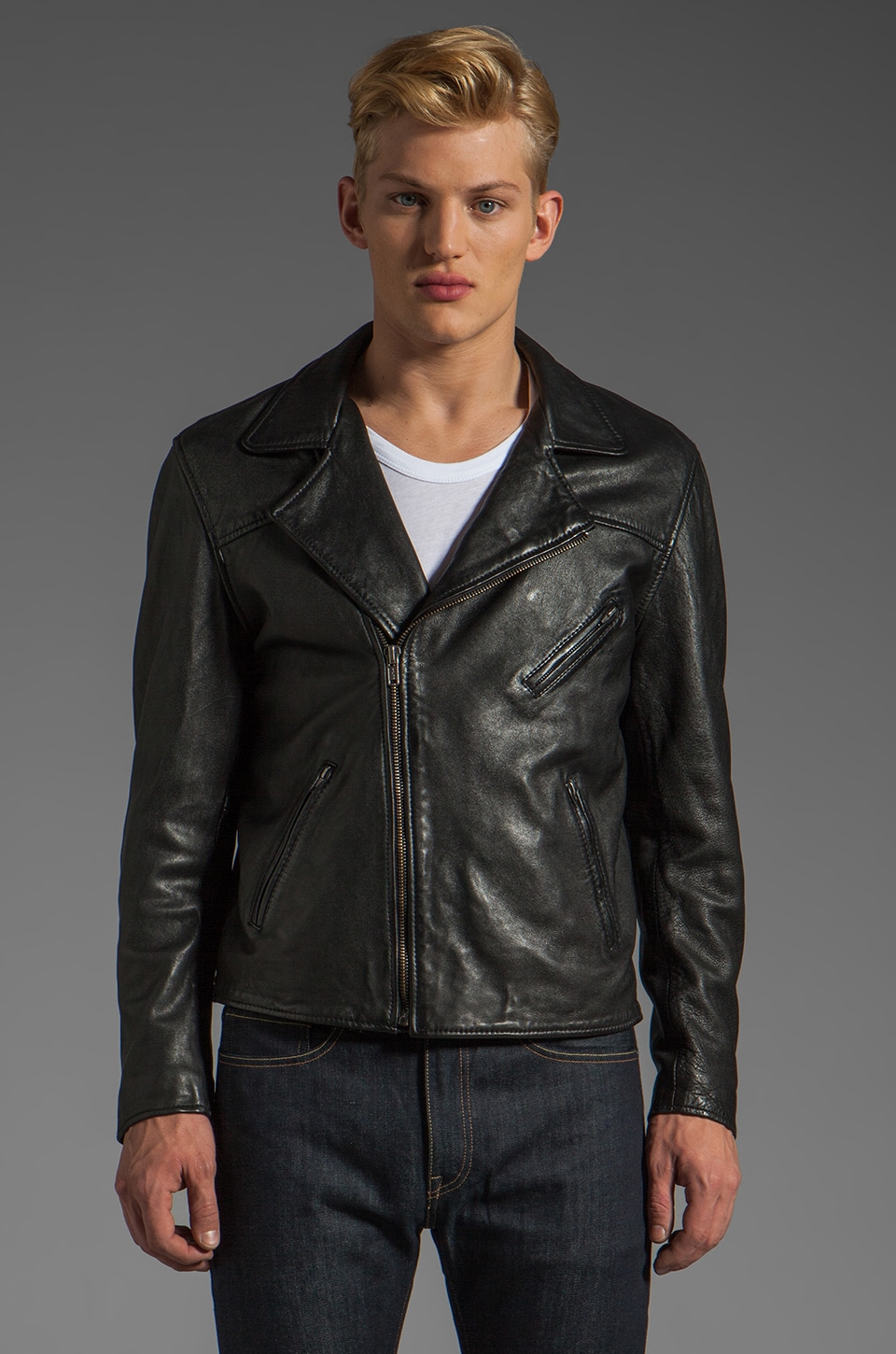 LEVI'S: Made & Crafted Off Road Leather Jacket in Pirate Black