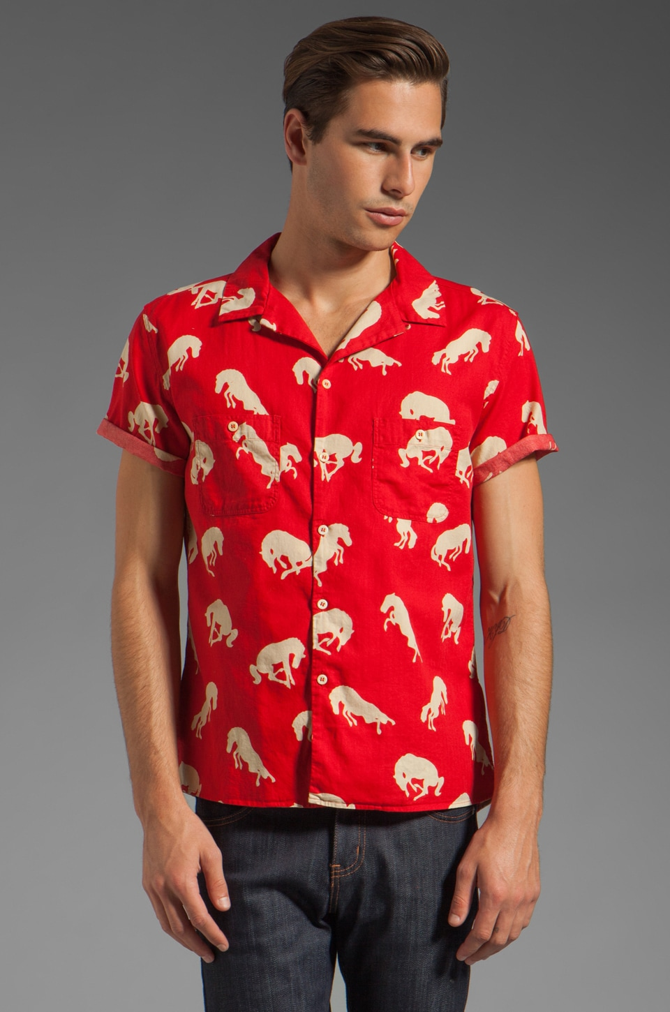 LEVI'S: Made & Crafted Short Sleeve Button Down Shirt in Red Horses