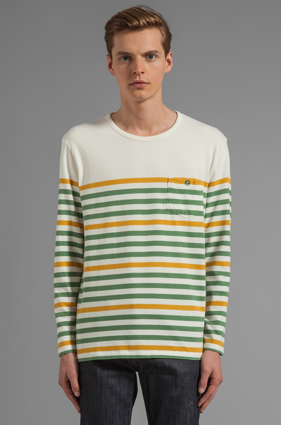 LEVI'S: Made & Crafted Breton Striped Tee in Golden Spice/ Dark Ivy