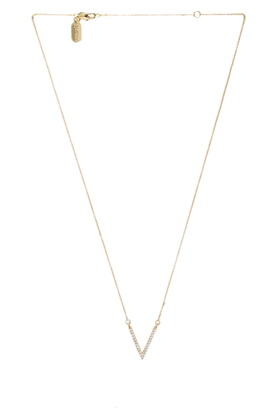 Lisa Freede Crystal Small V Necklace in Gold