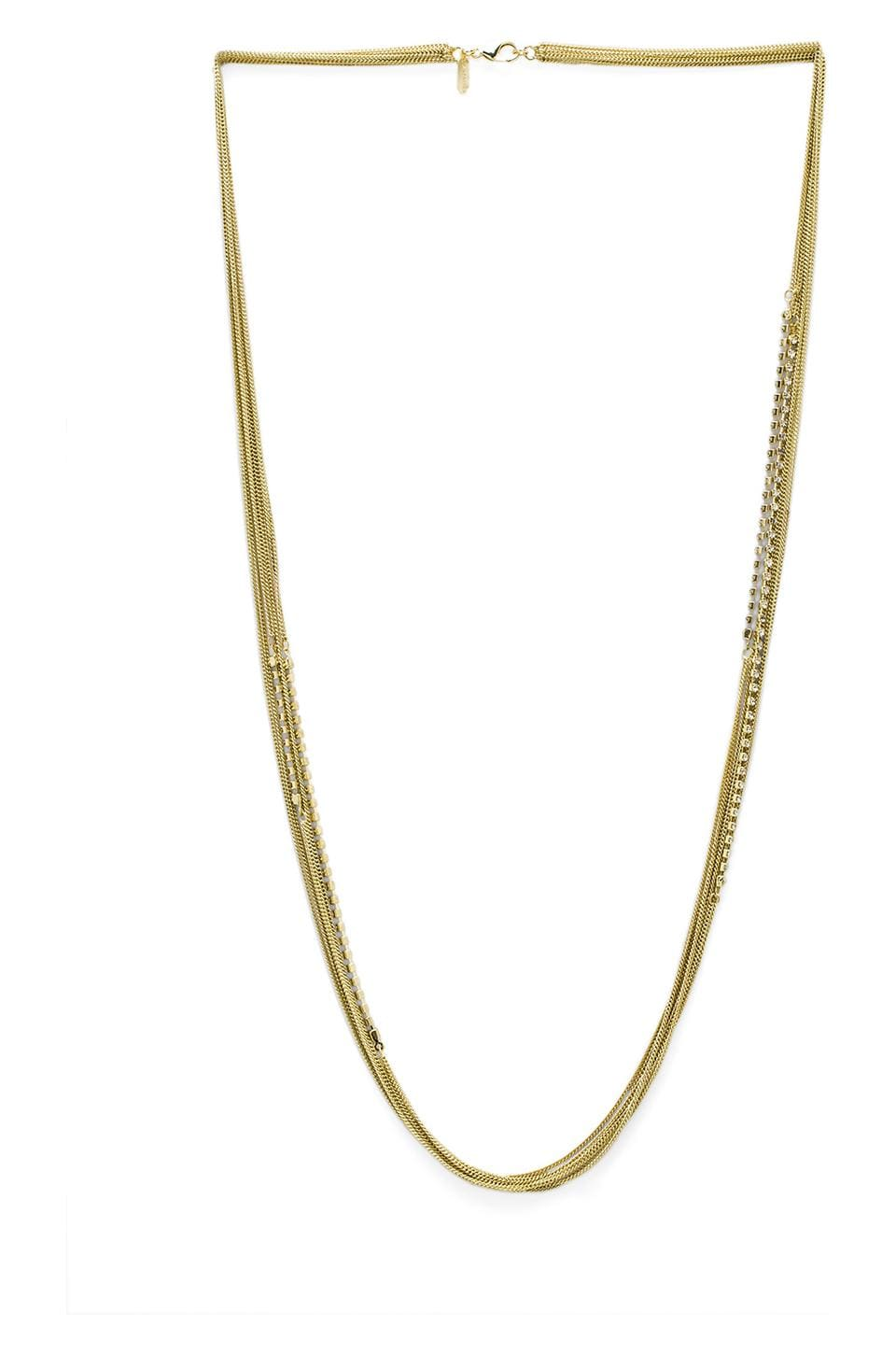 Lisa Freede Crystals and Chains Necklace in Yellow Gold