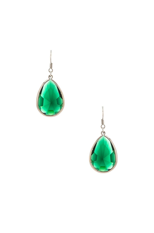 Lisa Freede Tear Drop Earrings in Emerald & Silver