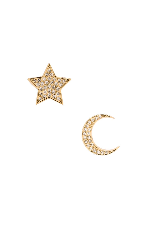 Lisa Freede Micro Pave Moon & Star Stud Earrings in Gold