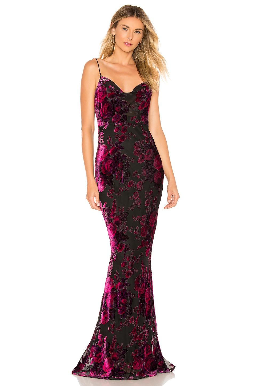 LIKELY Midori Gown in Fuchsia & Black