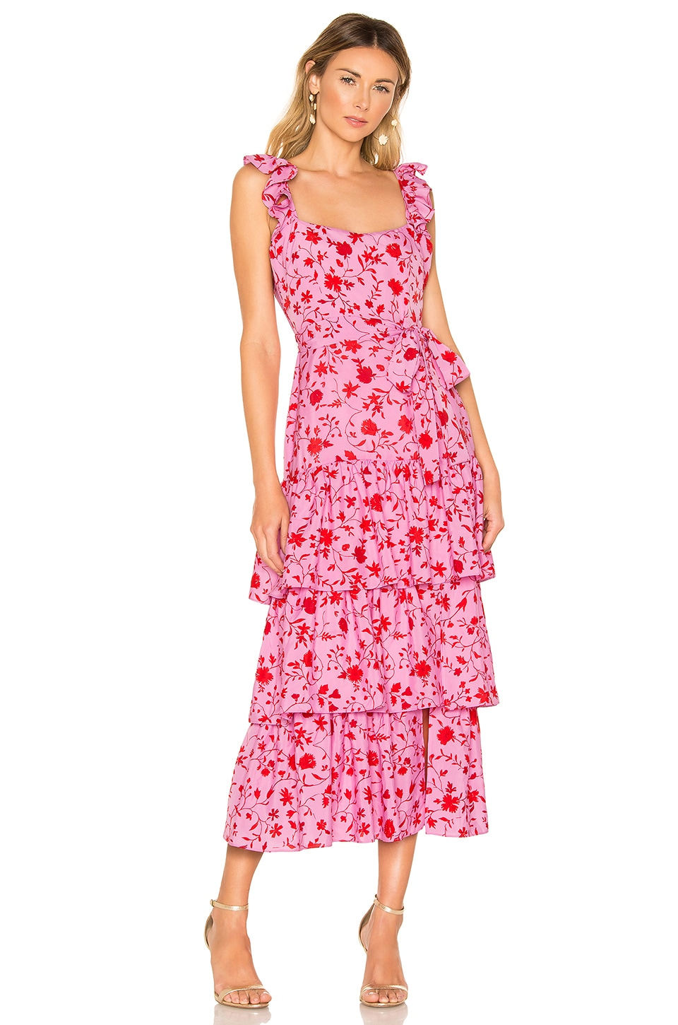 LIKELY Charlotte Dress in Red & Pink Multi