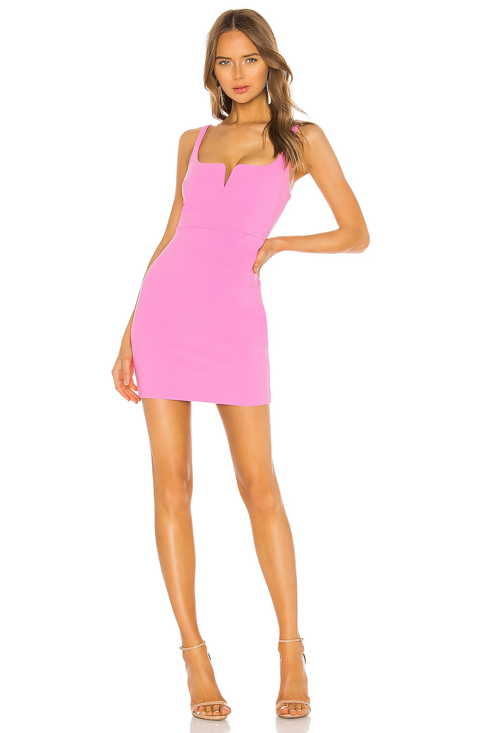 LIKELY Mini Constance Dress in Neon Pink