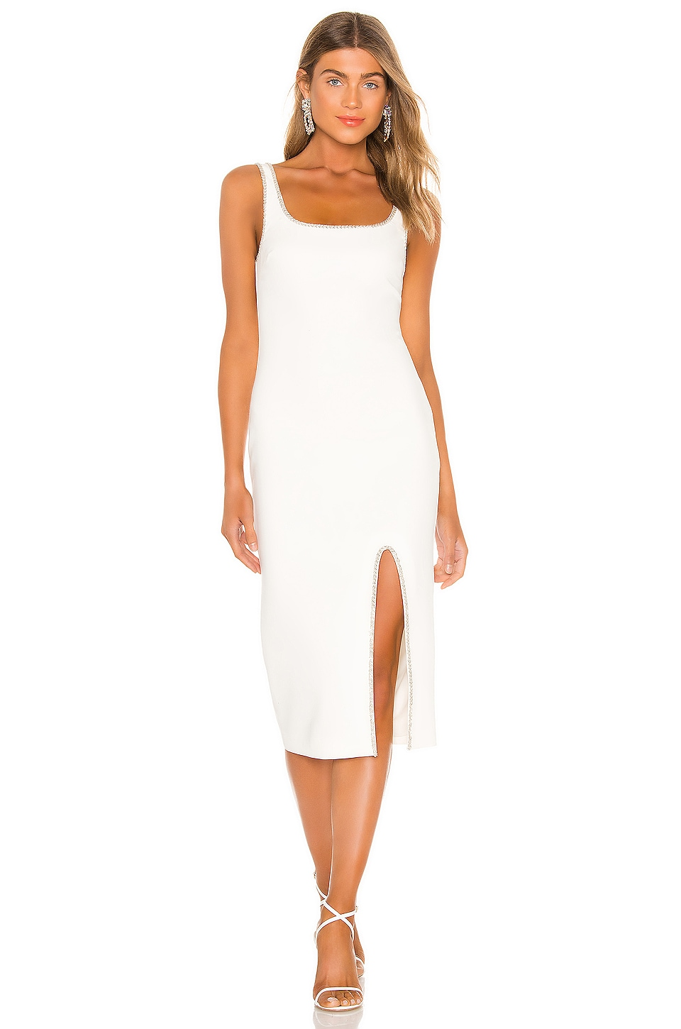 LIKELY Gisela Crystal Trim Dress in White