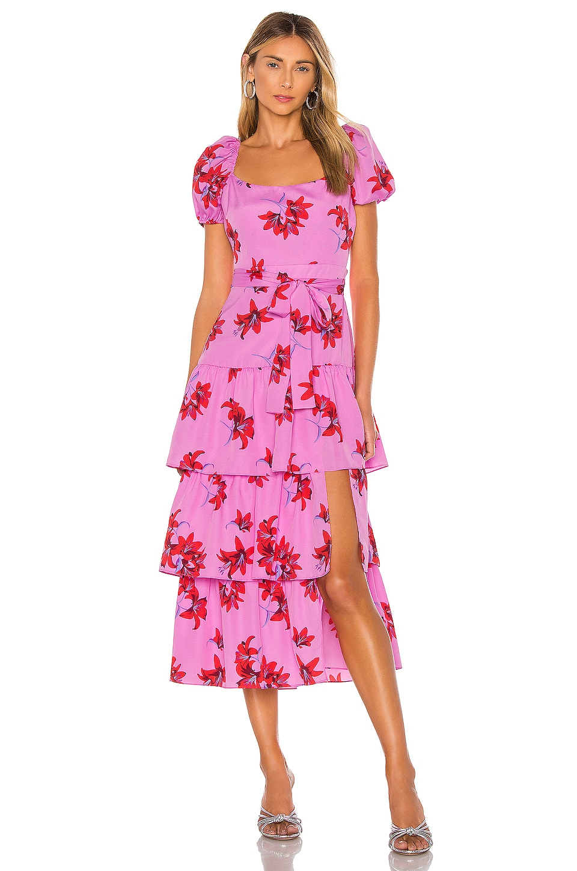 LIKELY Lottie Dress in Red & Pink Multi