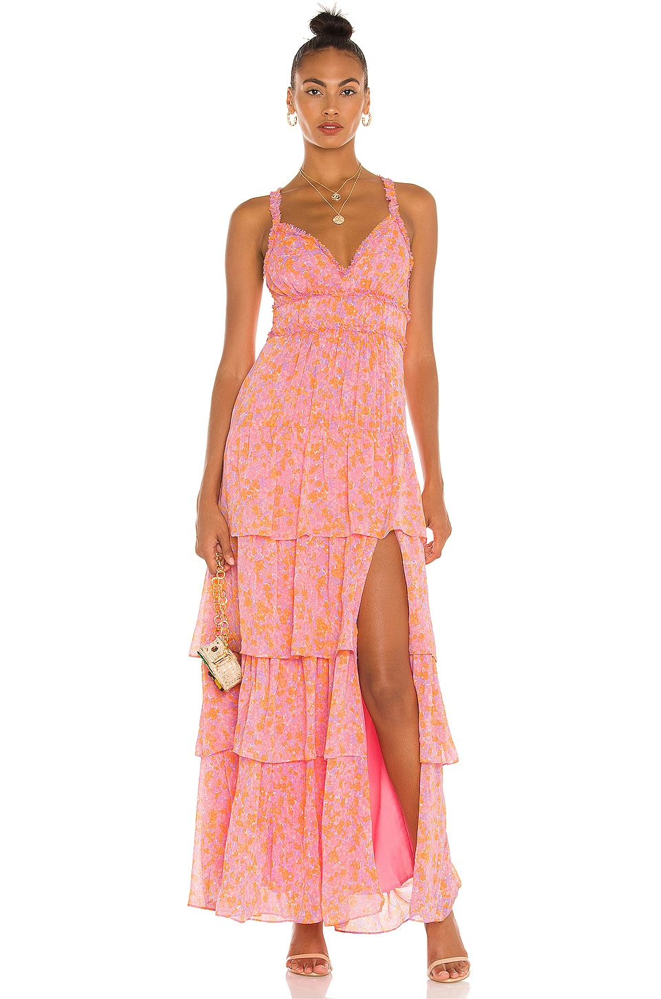 LIKELY Athena Maxi Dress in Pink Multi