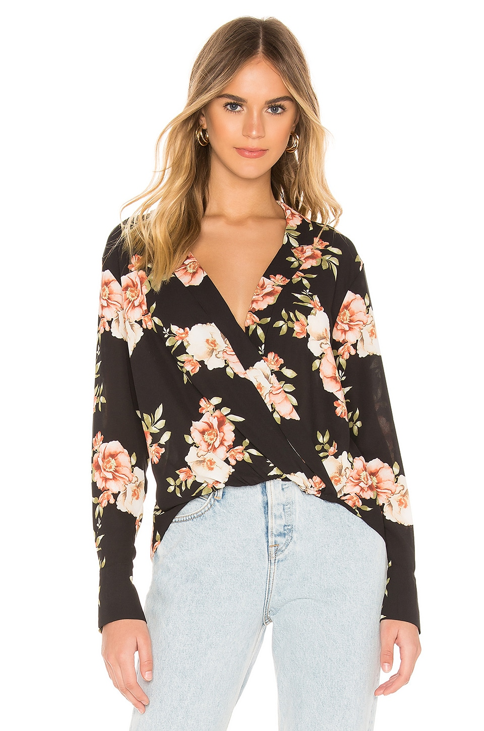 LIKELY Sophia Floral Mimi Top en Black Multi