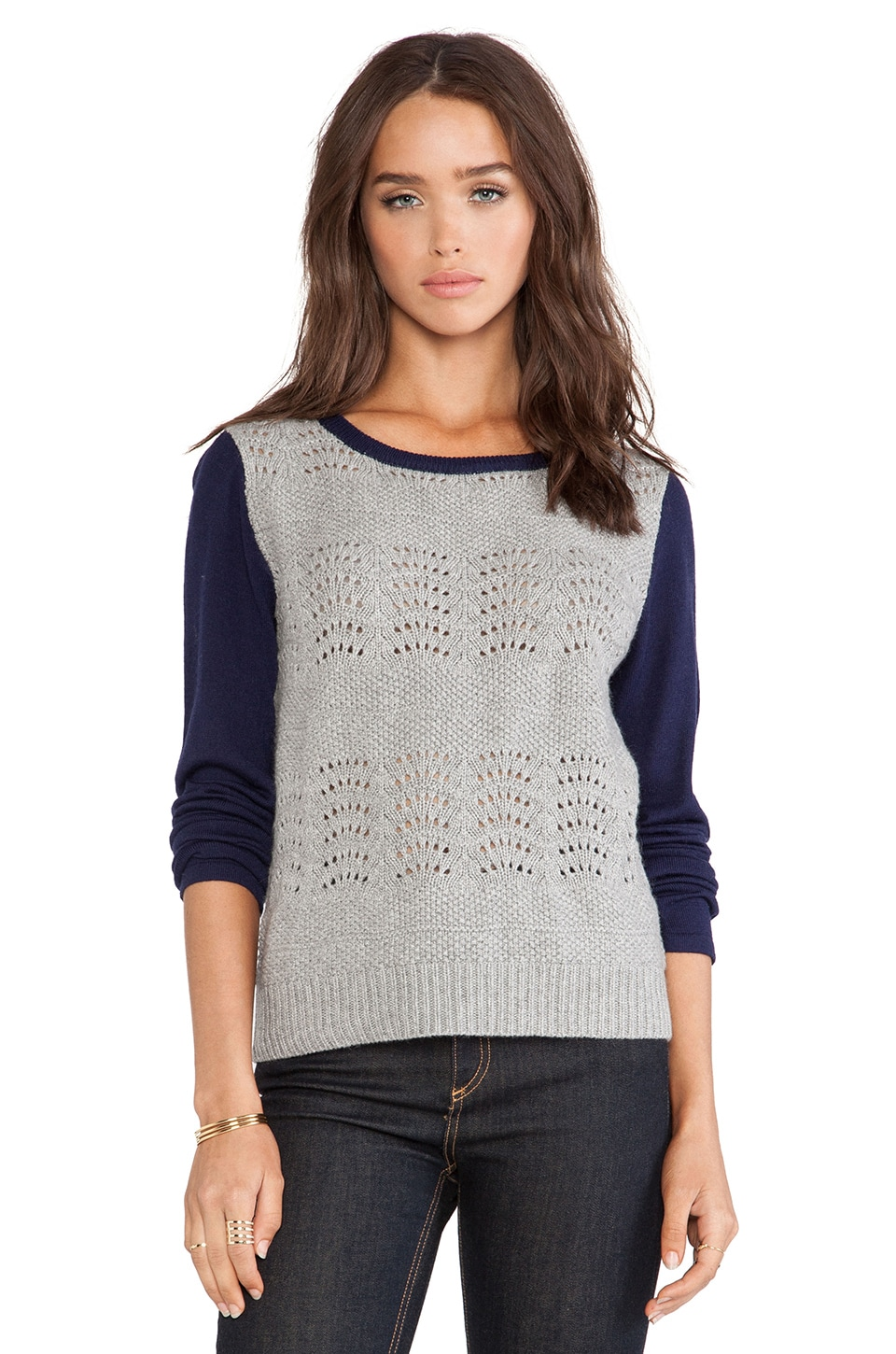 Linear B. Duo Pullover Sweater in Navy & Grey