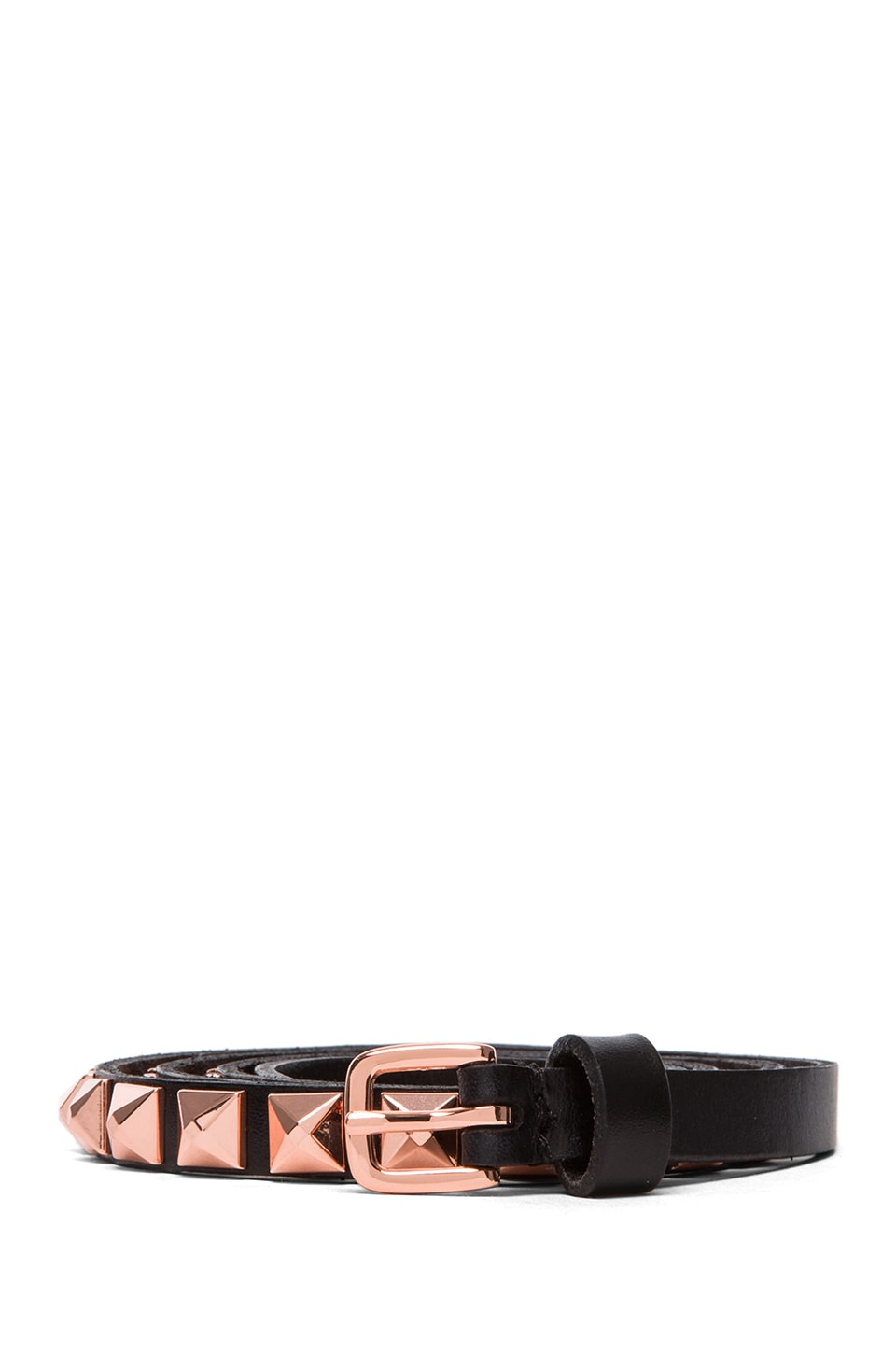Linea Pelle Skinny Hip Belt with Pyramid Studs in Black & Rose Gold