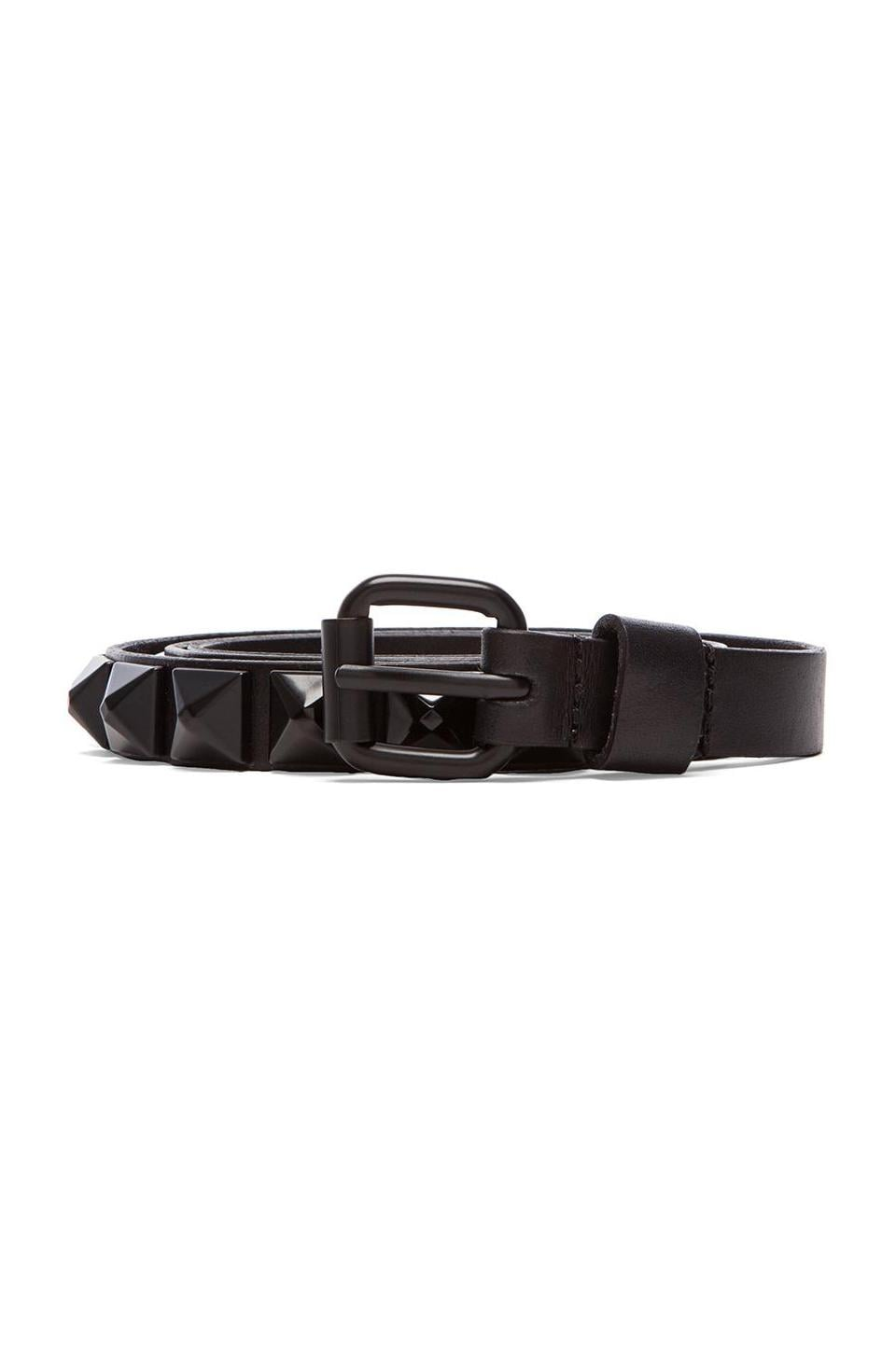 Linea Pelle Pyramid Studs Hip Belt in Black/Black
