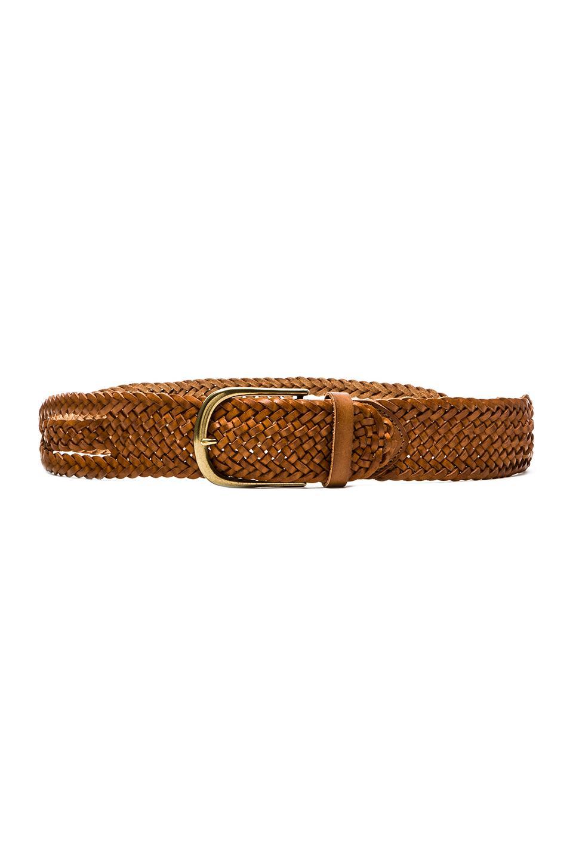 Linea Pelle Side Twisted Braid Vintage Belt in New Cognac