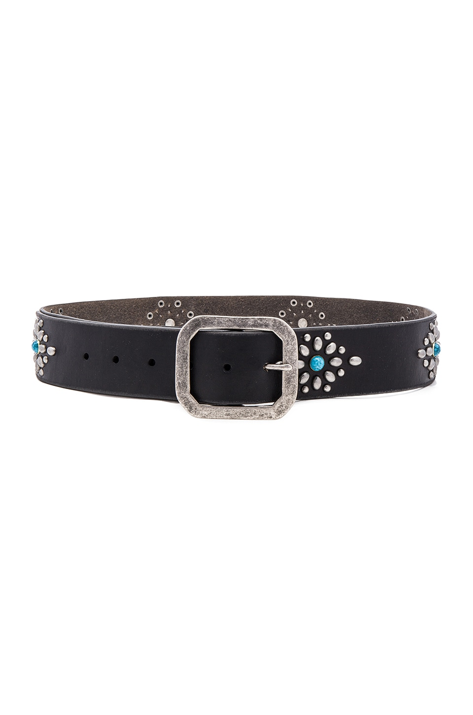 Linea Pelle Vintage Western Stud Hip Belt in Black & Antique Nickel