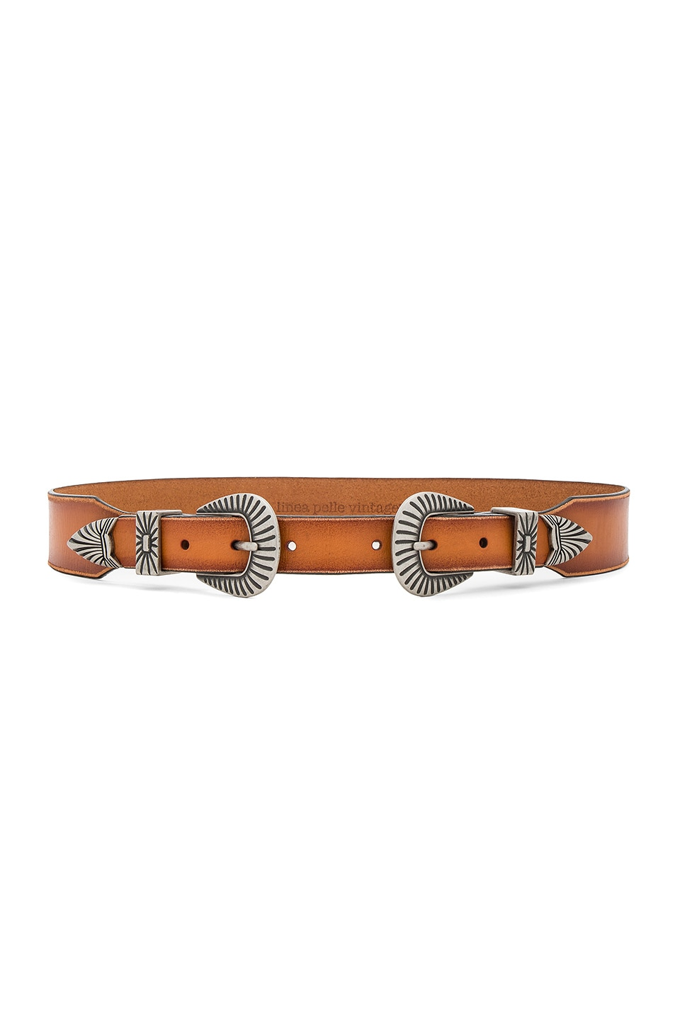 Linea Pelle Western Double Buckle Belt in Cognac & Silver