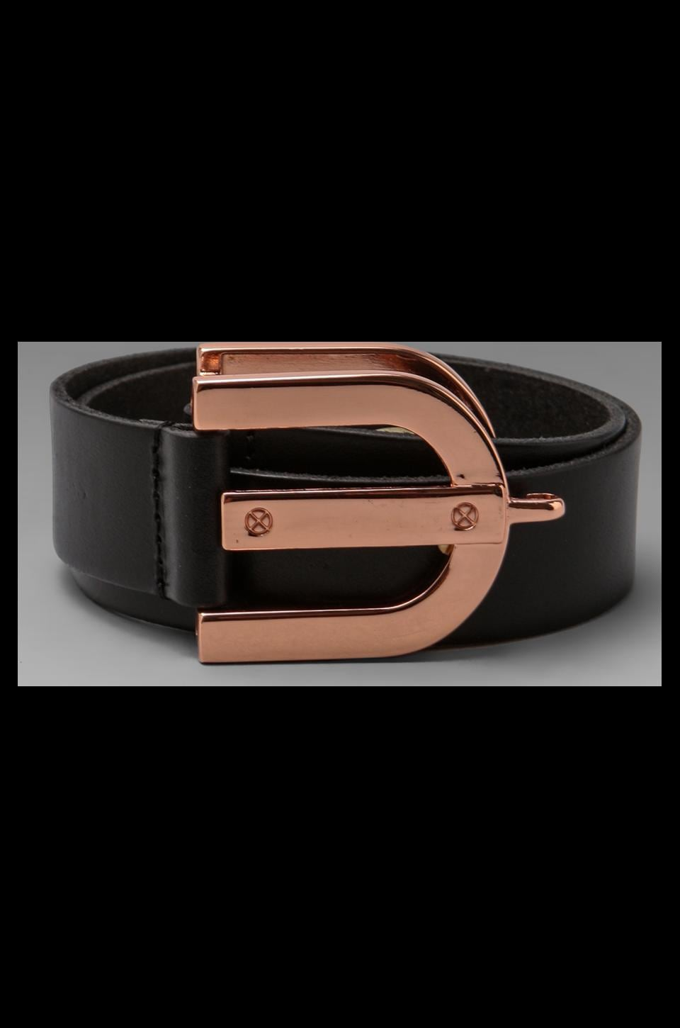 Linea Pelle Avery Waist with Horseshoe Closure Belt in Black/Rose Gold