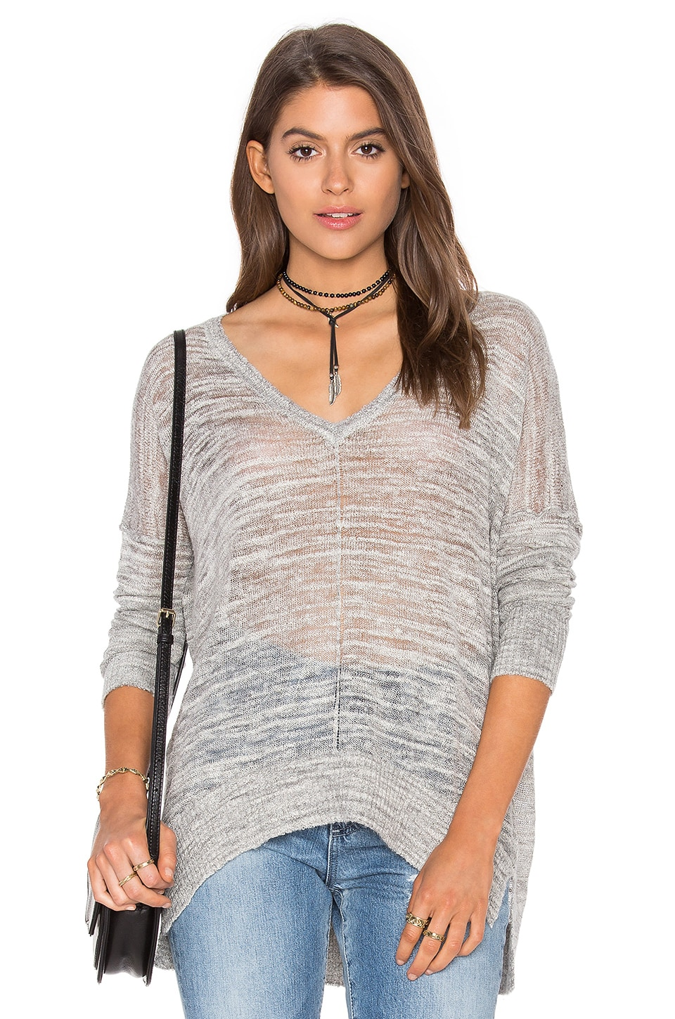 Line Ruby V Neck Sweater in Shadow