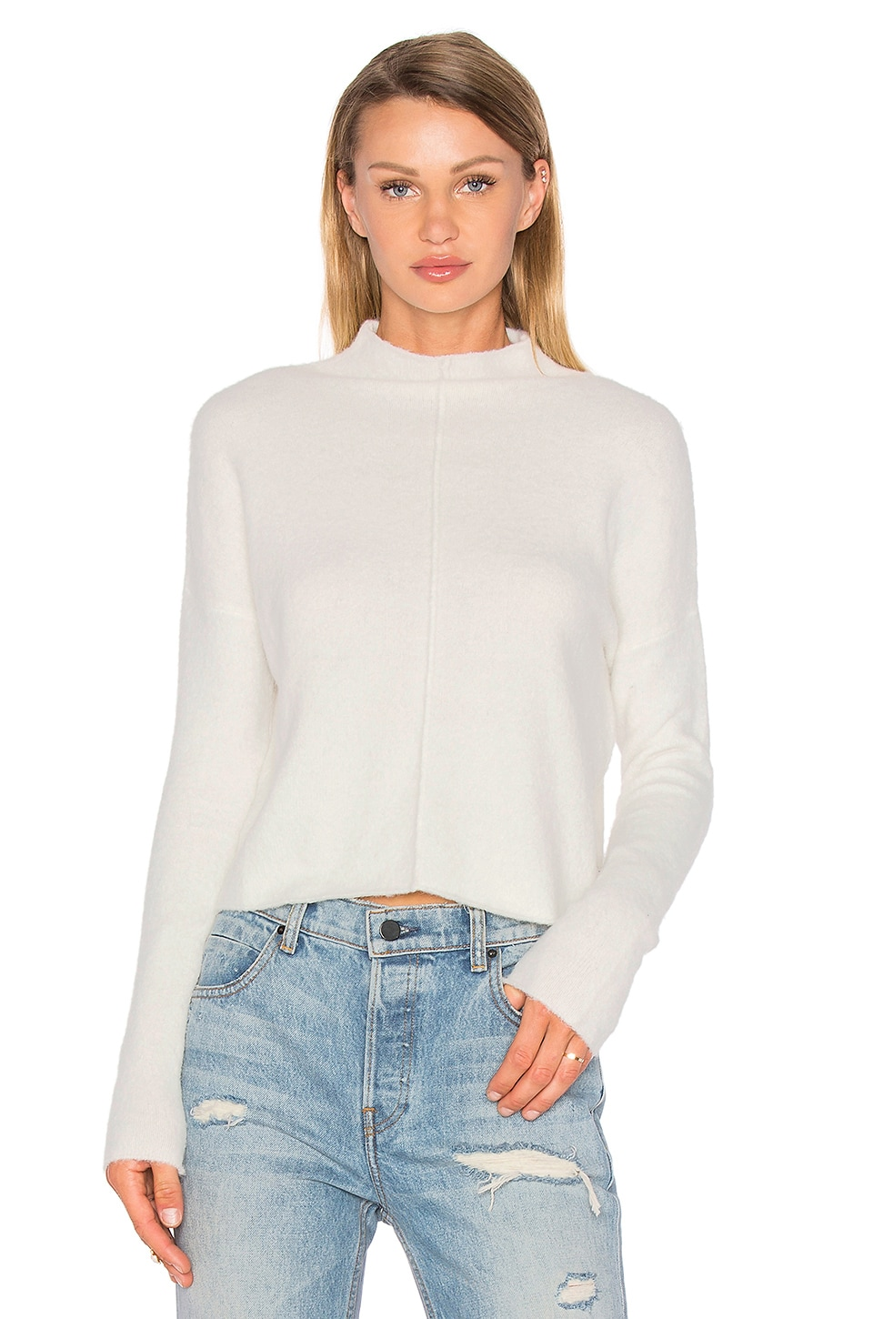 Line Eva Mock Neck Sweater in Whitecap