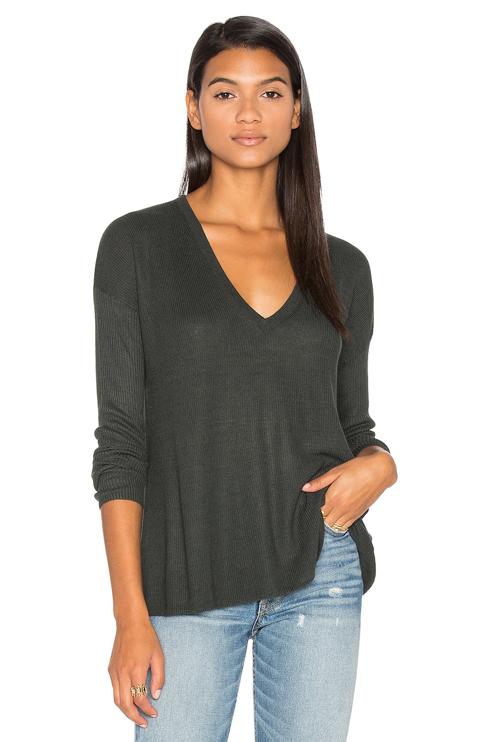 Heather V Neck Sweater by Line