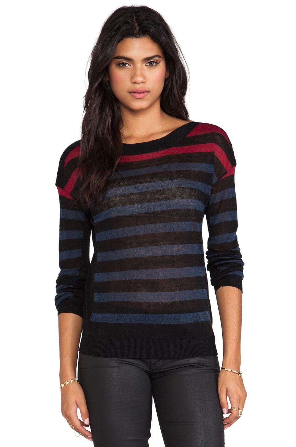 Line The Windswept Striped Linen Pullover in Dusk/Caviar/Vermillion