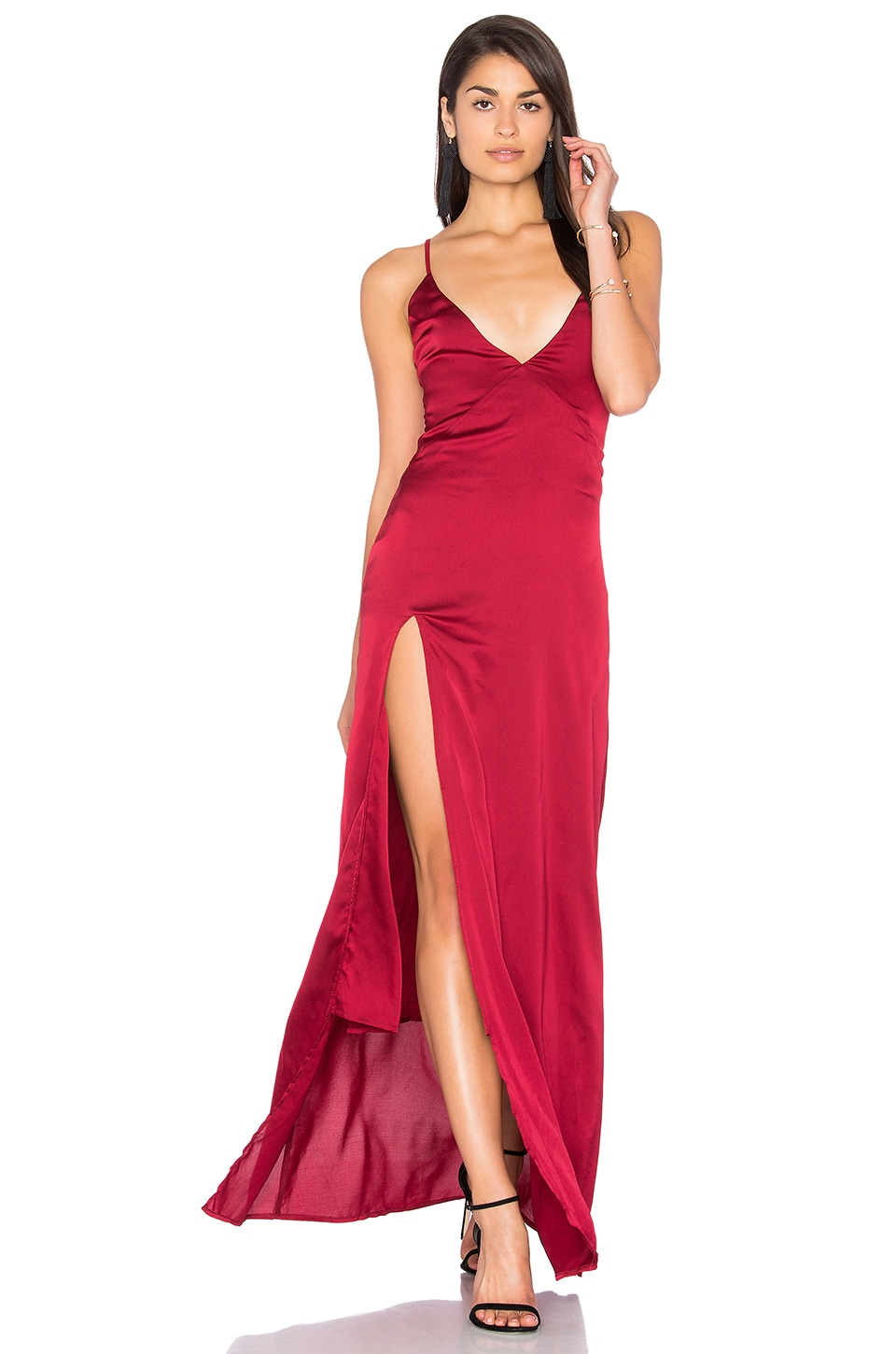 LIONESS Up in Smoke Maxi Dress in Wine