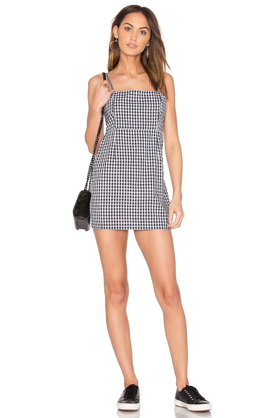 LIONESS Cha Cha Gingham Mini Dress in Black Gingham