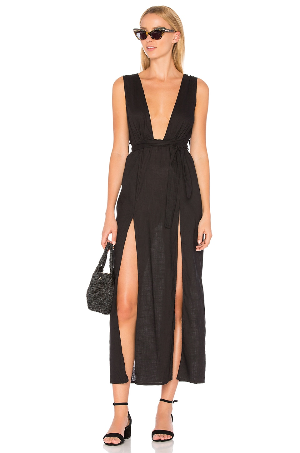 LIONESS Esperanza Plunge Maxi Dress in Black