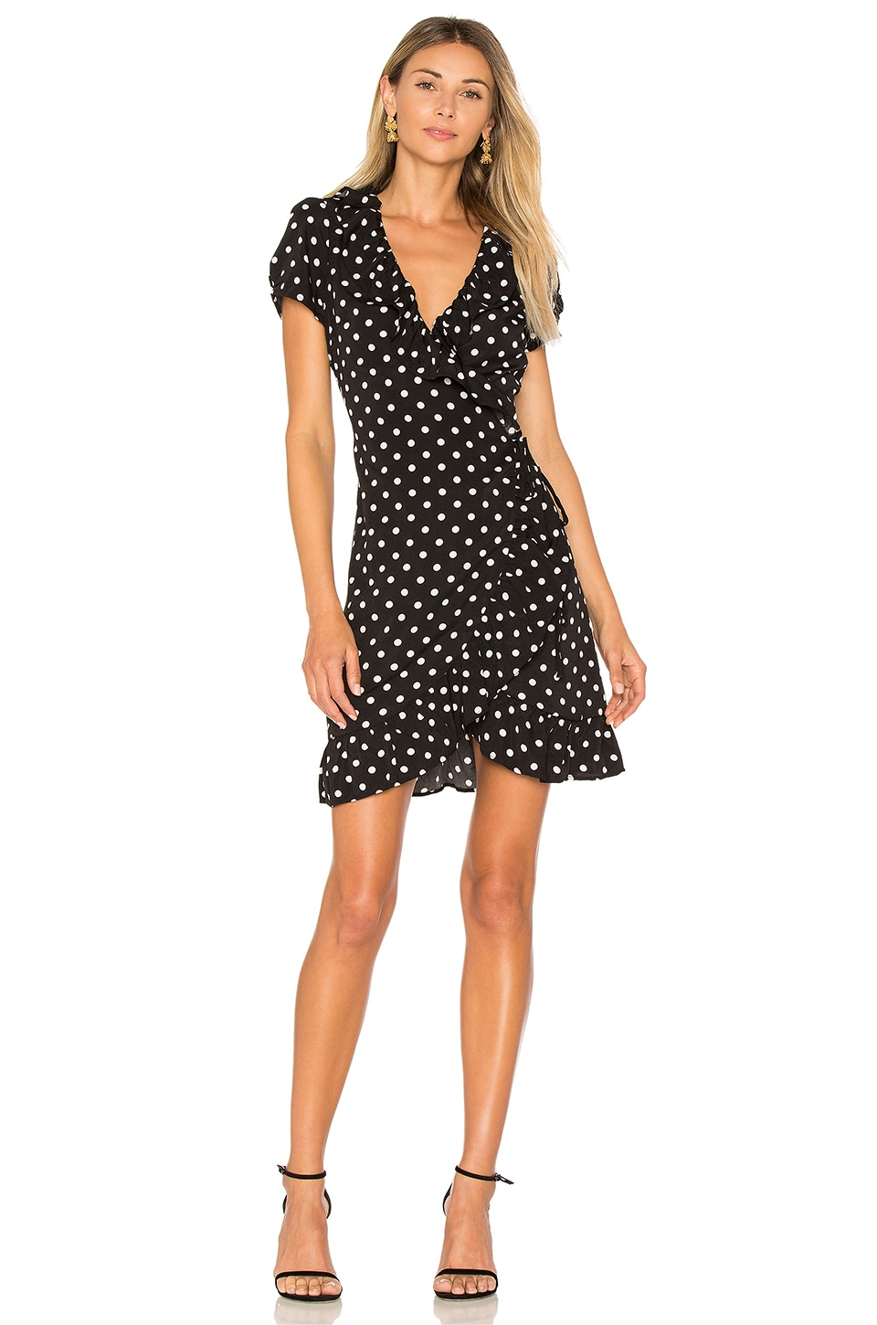 LIONESS Birkin Wrap Dress in Polka
