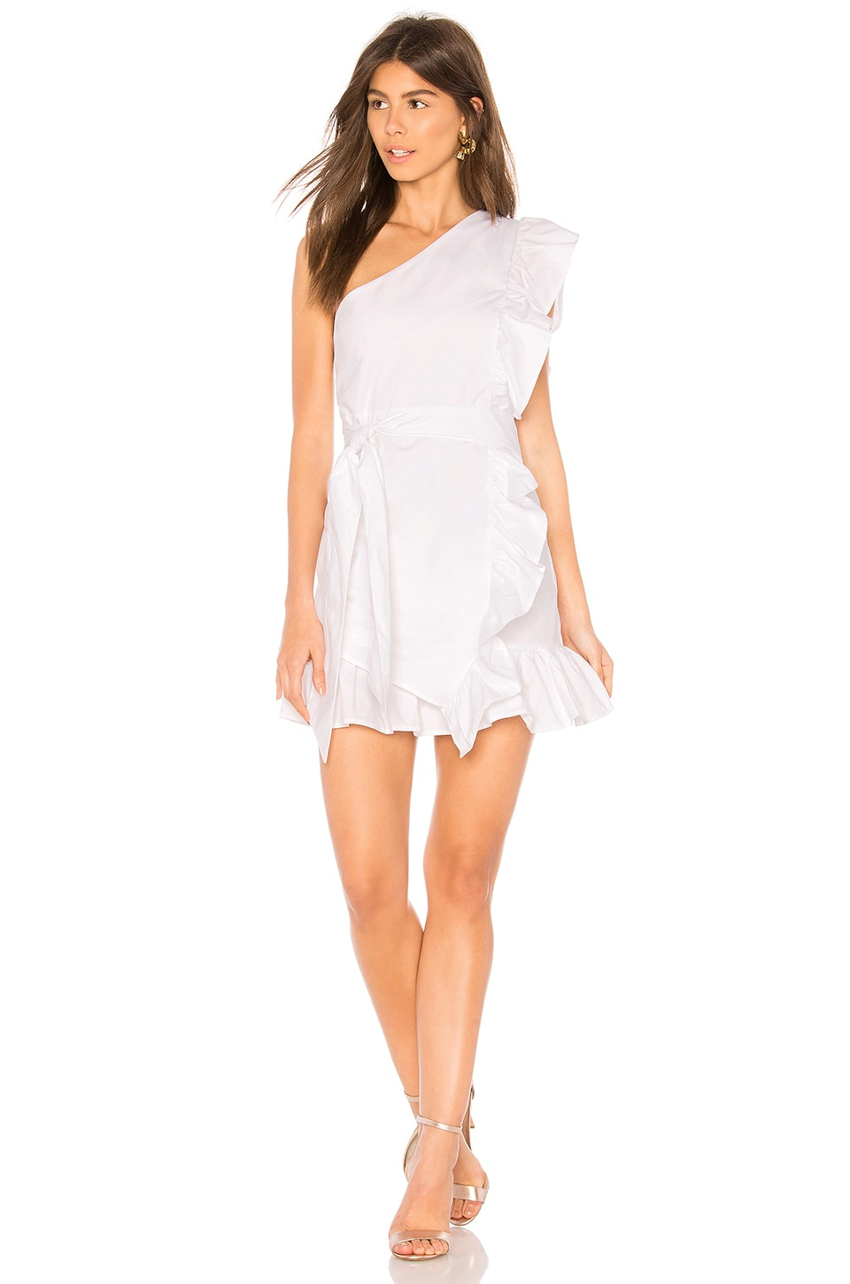 LIONESS Sliding Doors Ruffle Dress in White