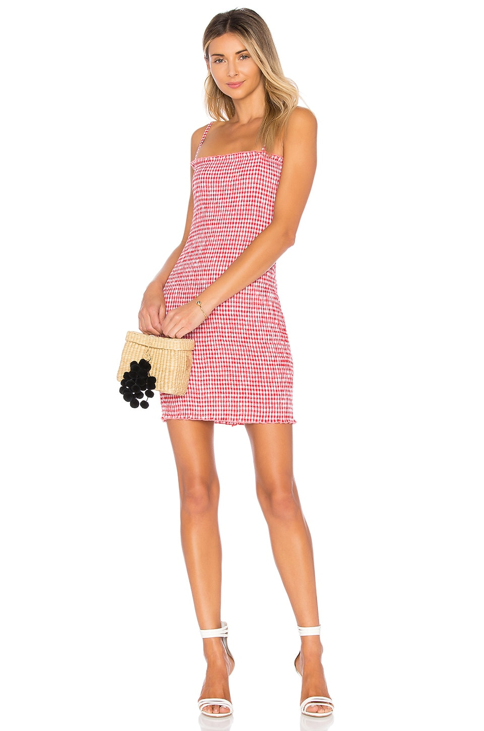 LIONESS Havana Smocked Mini Dress in Red Gingham