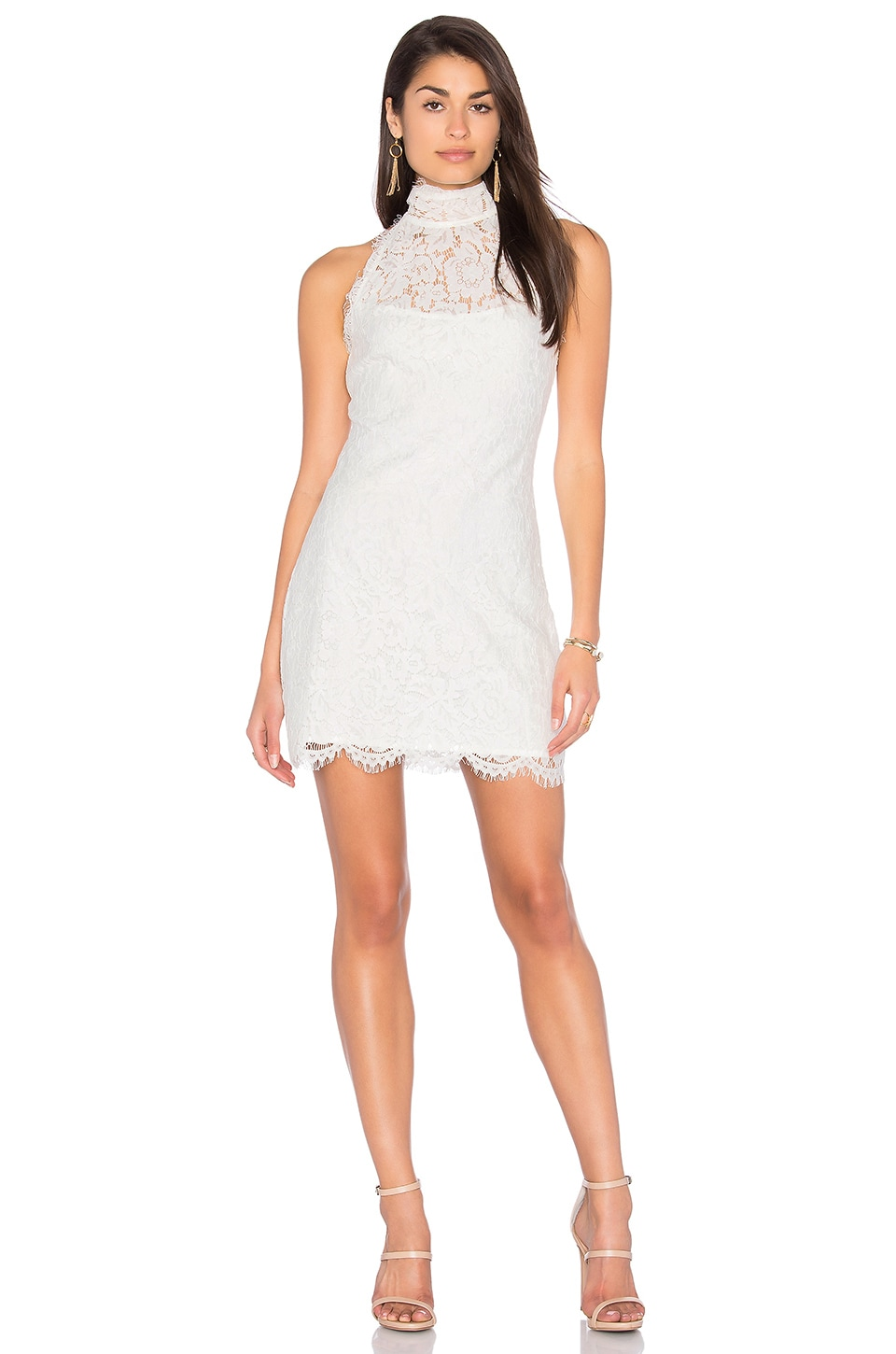 LIONESS Dancing with Fame Lace Mini Dress in White