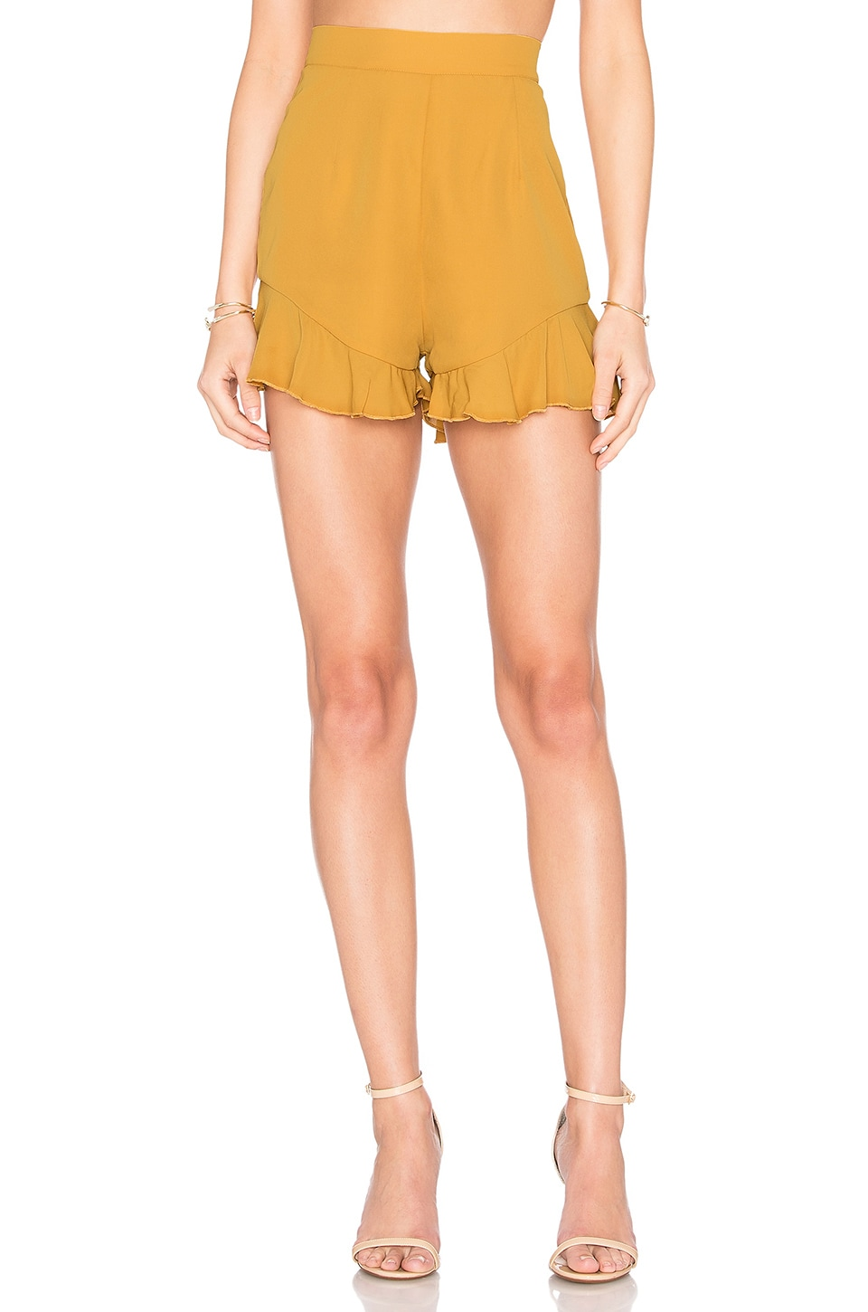 LIONESS Sanchez Ruffle Short in Mustard