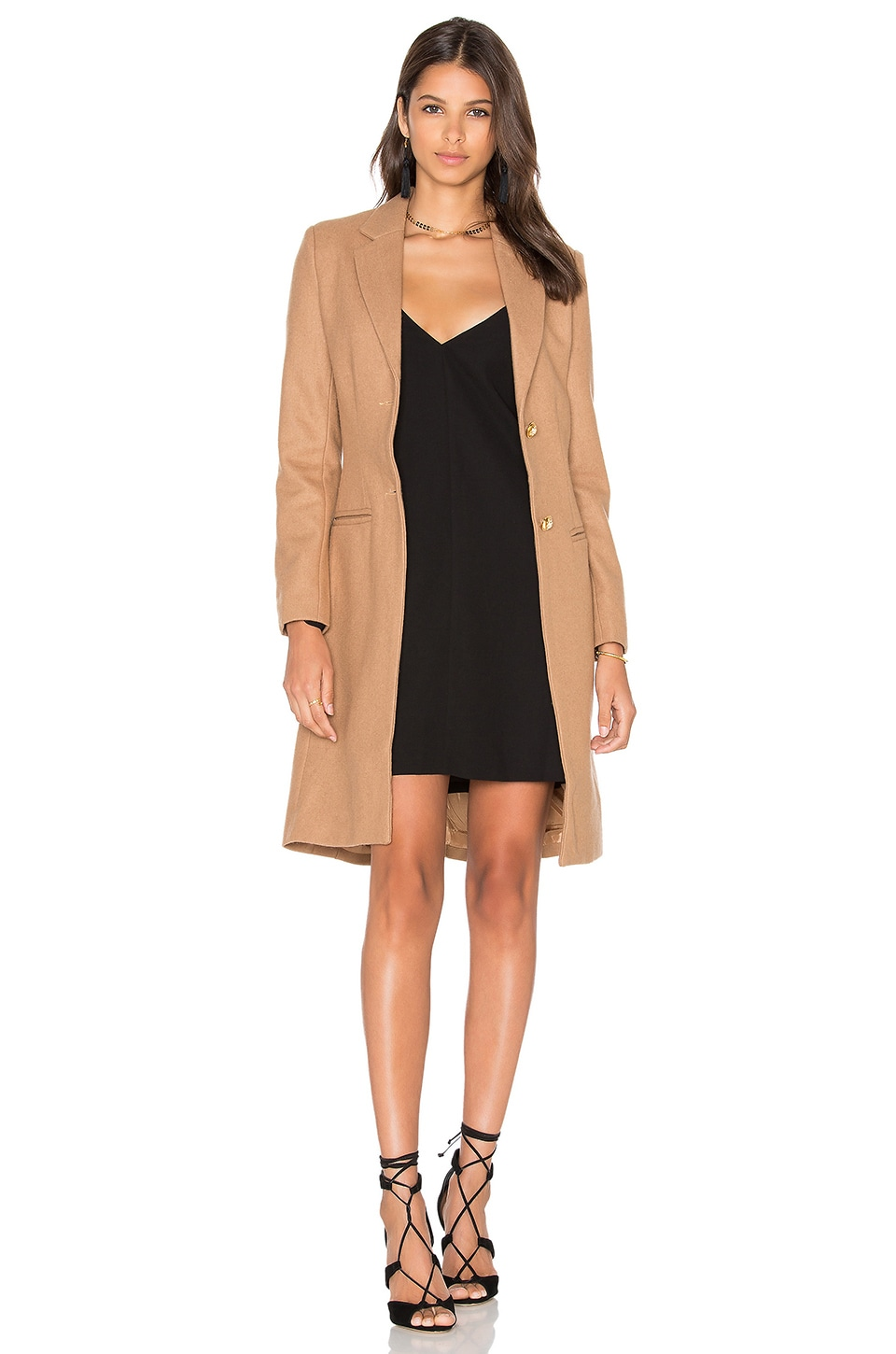 LIONESS Donatella Short Winter Coat in Camel