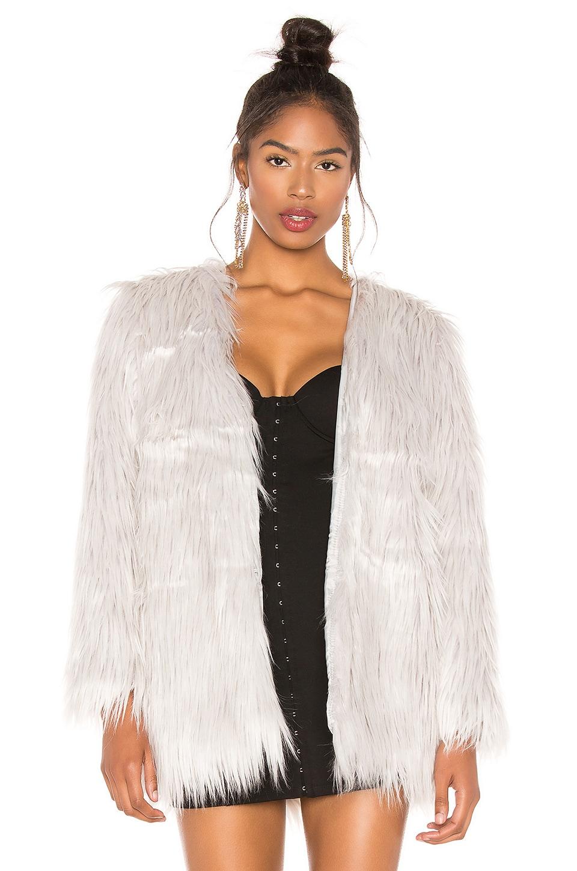 LIONESS Portofino Faux Fur Coat in Grey