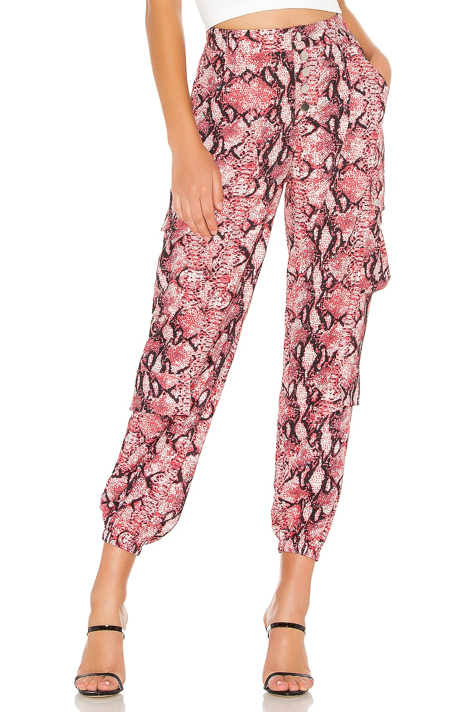 LIONESS Cypress Pant in Red Python