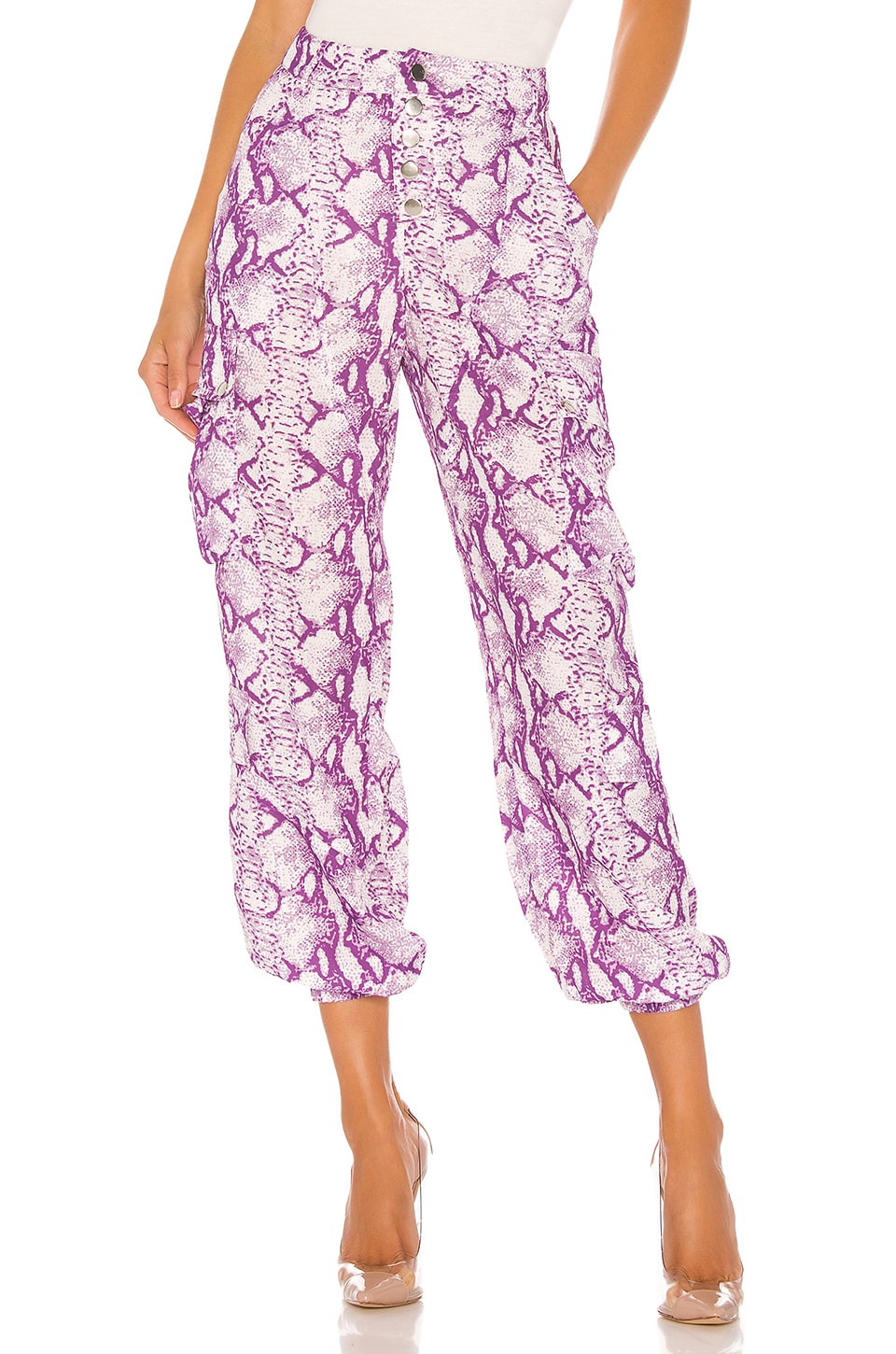 LIONESS Cypress Pant in Purple Python