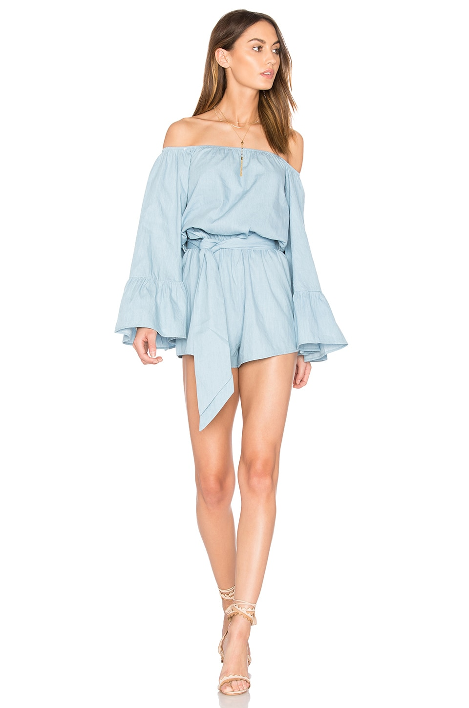 LIONESS Del Rio Off Shoulder Romper in Chambray