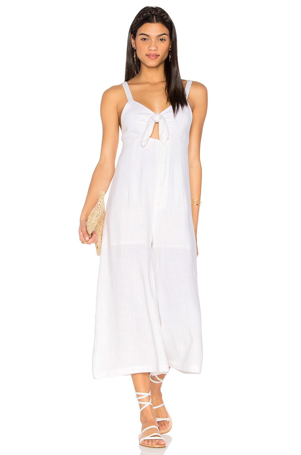 LIONESS Fresco Chambray Jumpsuit in White