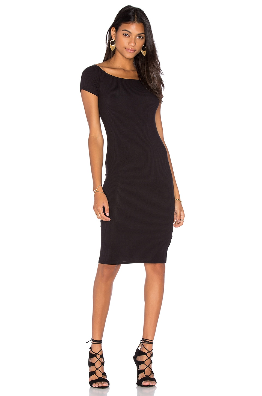 Lisakai Short Sleeve Ribbed Dress in Black