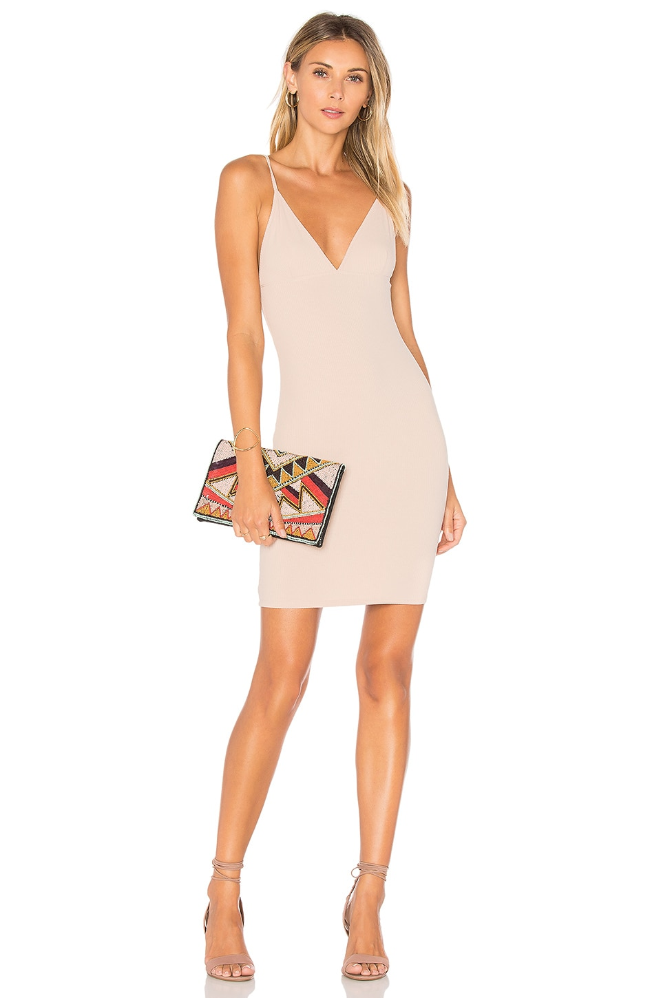 Lisakai Ribbed Tank Dress in Nude