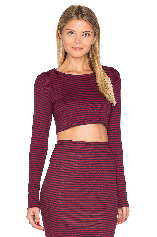 Lisakai Striped Long Sleeve Crop Top in Maroon