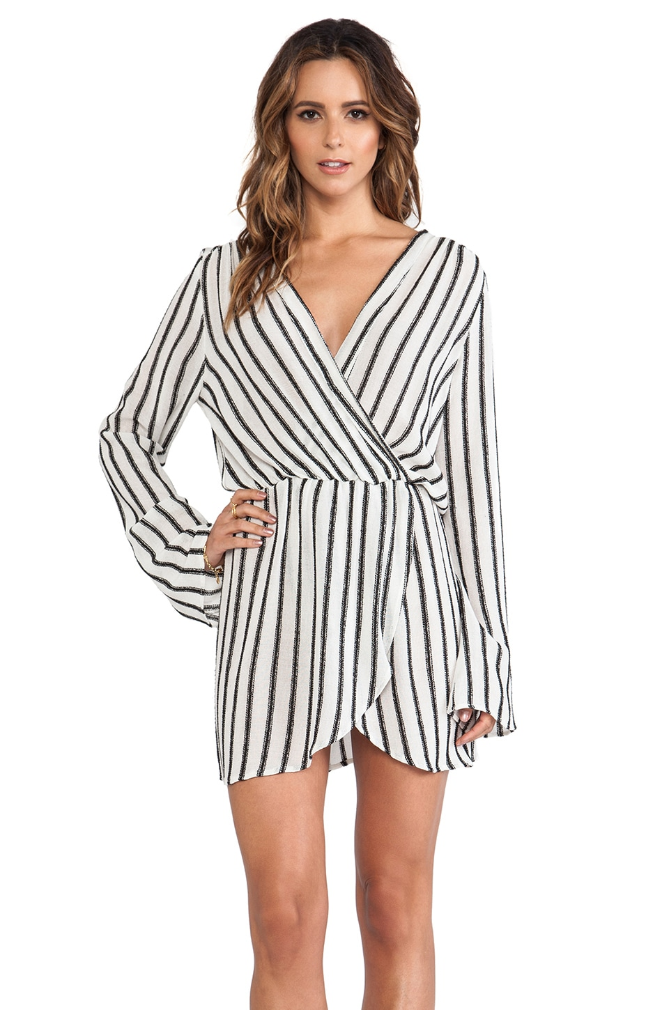 LIV Bell Sleeve Tunic Dress in Black & White Stripe