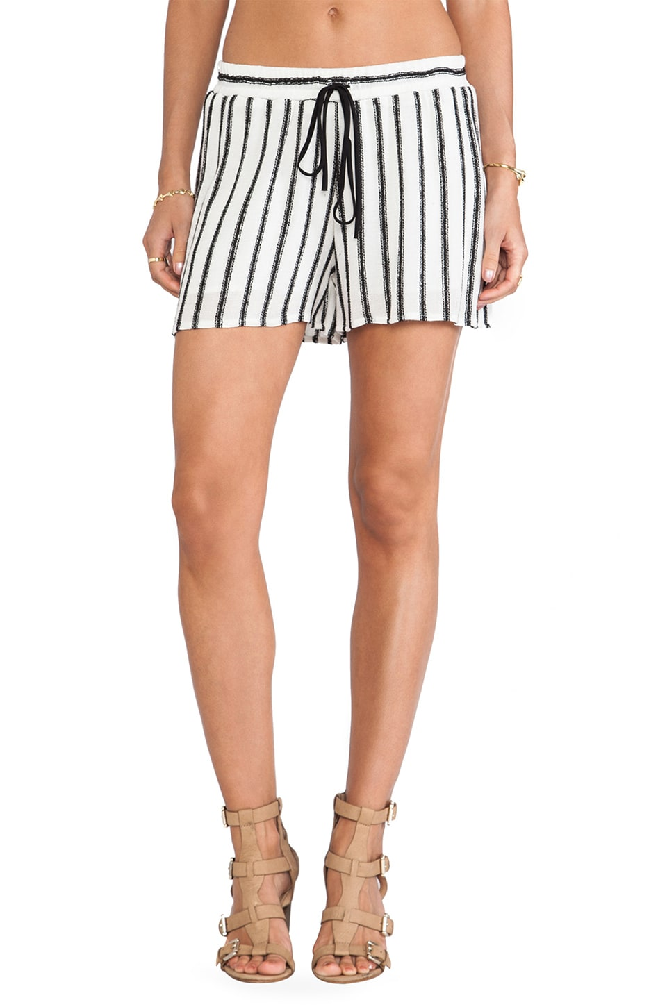 LIV Tie Short in Black & White Stripe