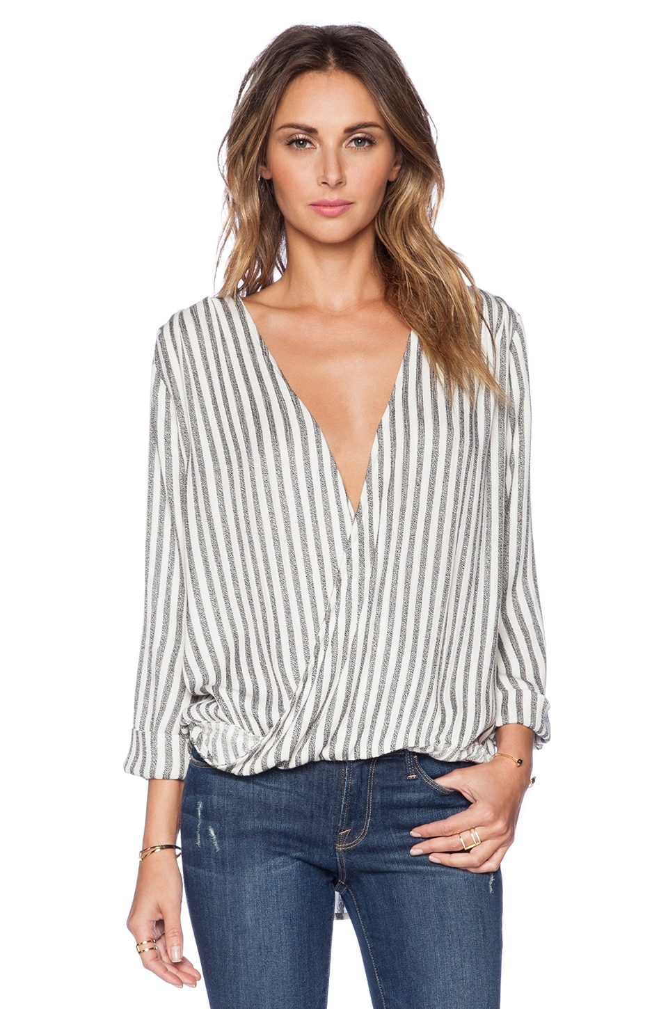 LIV Claude Cross V Top in Stripe