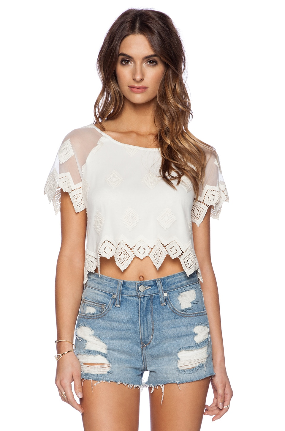 LIV Anna Lace Crop Top in Ivory